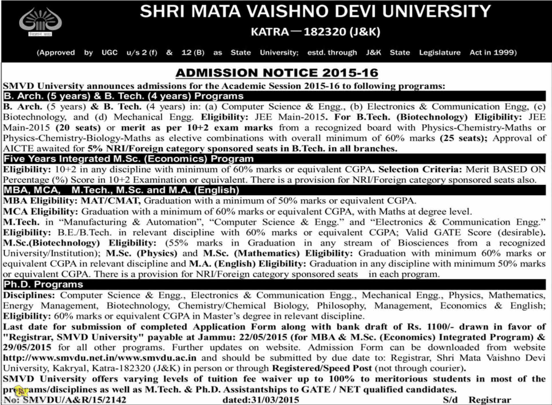 SHRI MATA VAISHNO DEVI UNIVERSITY ADMISSION NOTICE 2015-16