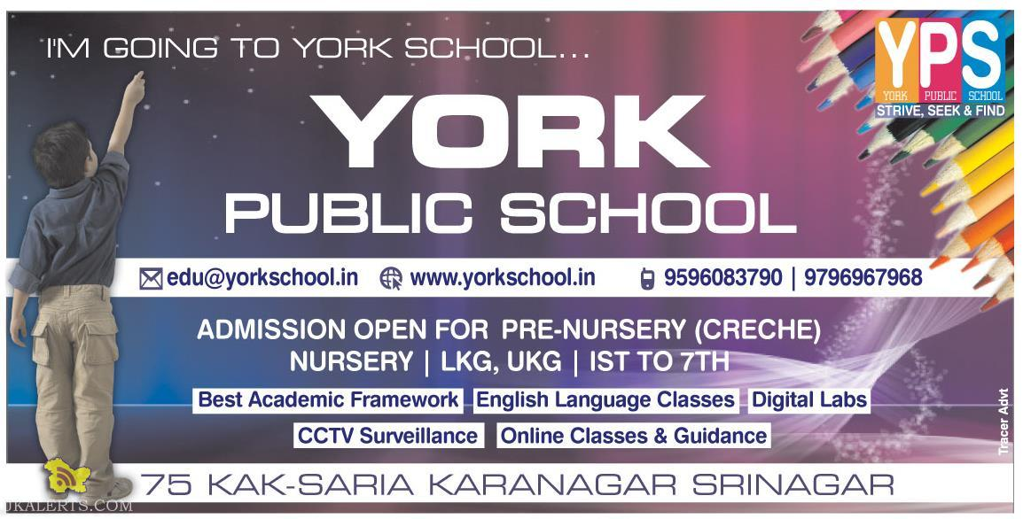 ADMISSION OPEN IN YORK PUBLIC SCHOOL