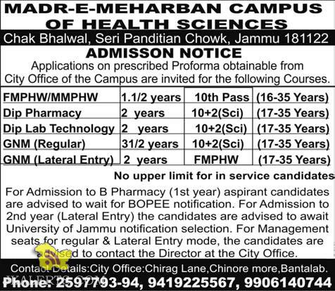 JOBS OPEN IN FMPHW/MMPHW, GNM, FMPHW MADR-E-MEHARBAN