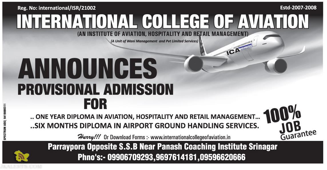 International College of Aviation admission 2015