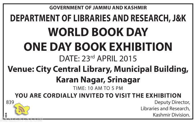 WORLD BOOK DAY , BOOK EXHIBITION IN SRINAGAR