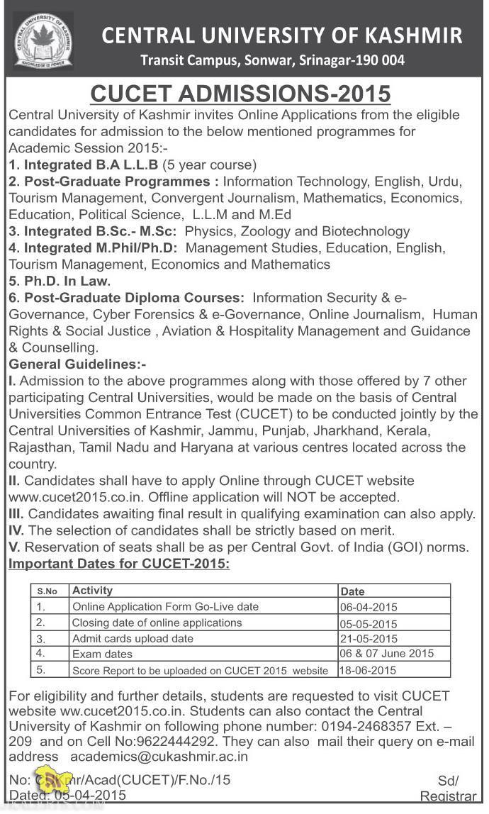 CENTRAL UNIVERSITY OF KASHMIR , CUCET ADMISSIONS-2015