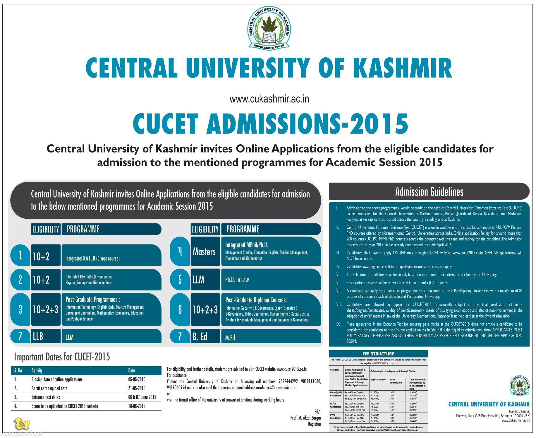 CENTRAL UNIVERSITY OF KASHMIR CUCET ADMISSIONS-2015