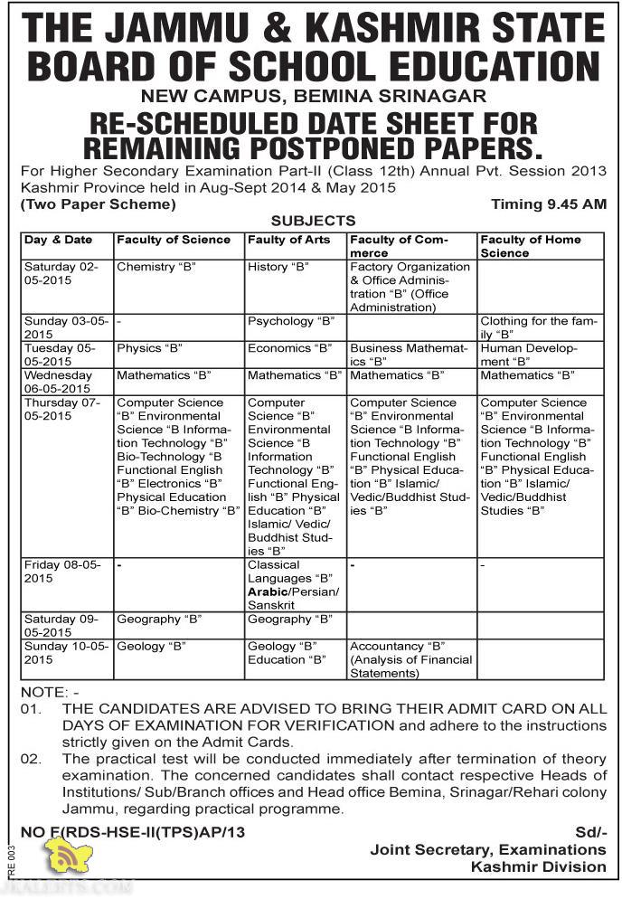 RE-SCHEDULED DATE SHEET OF POSTPONED PAPERS CLASS 12th KASHMIR