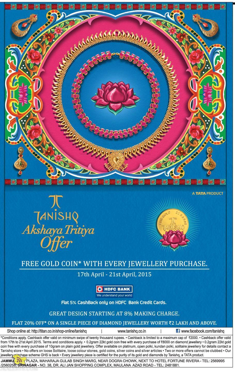 Tanishq Akshaya Tritiya offer on Gold and Diamond Jewellery
