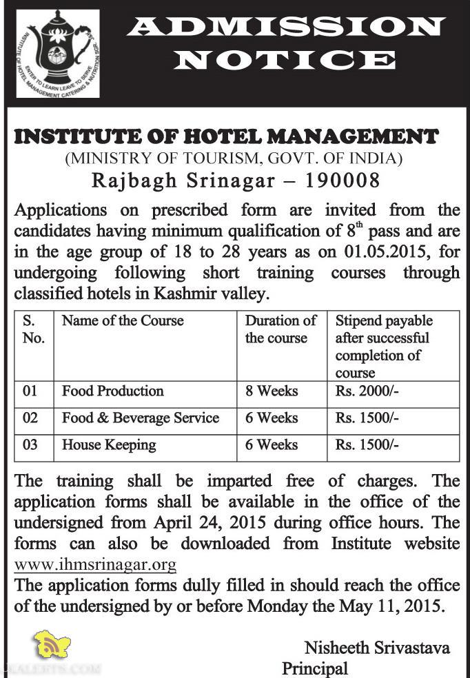 INSTITUTE OF HOTEL MANAGEMENT TRAINING COURSE ADMISSION OPEN 2015