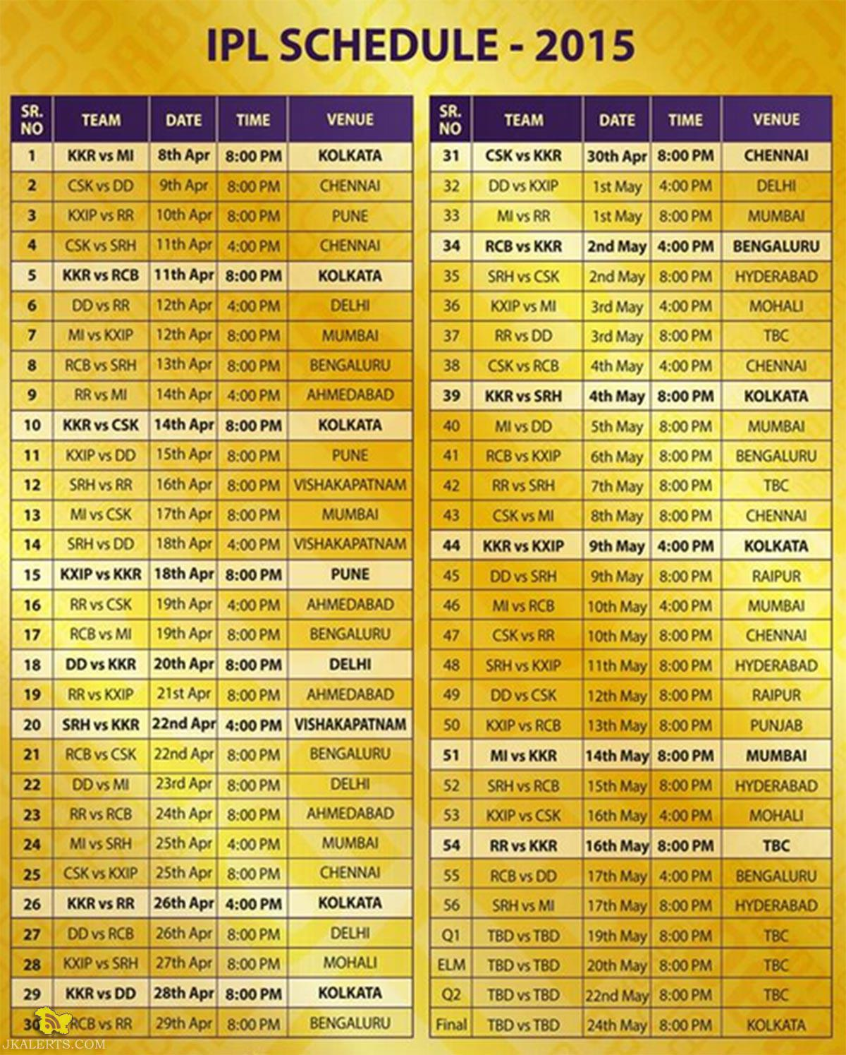 IPL 2015 Schedule, Time table and IPL 8 Match timings.