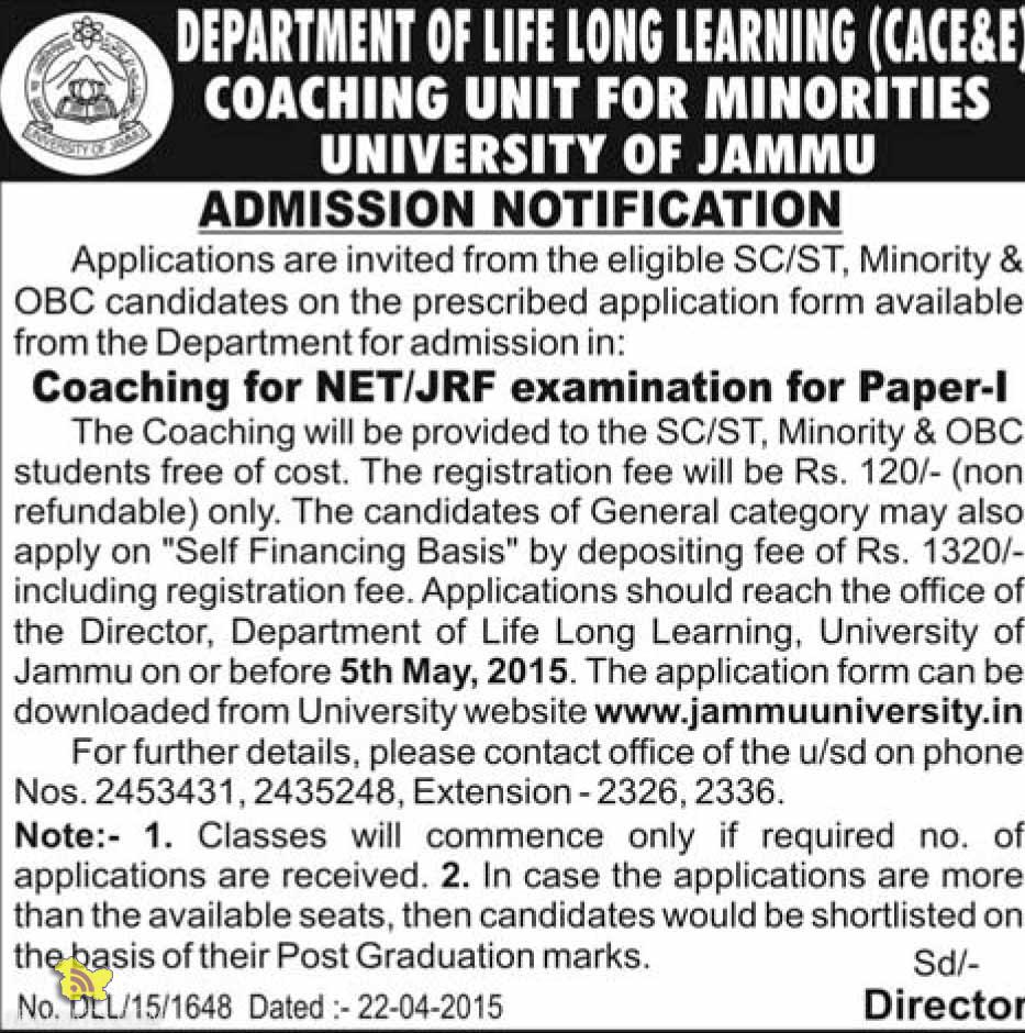 Coaching for NET/JRF free of cost SC/ST. Minority & OBC students