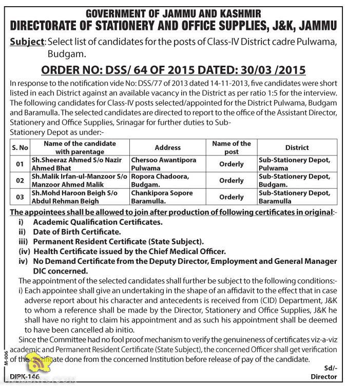 Select list of candidates for the posts of Class-IV District cadre Pulwama, Budgam.