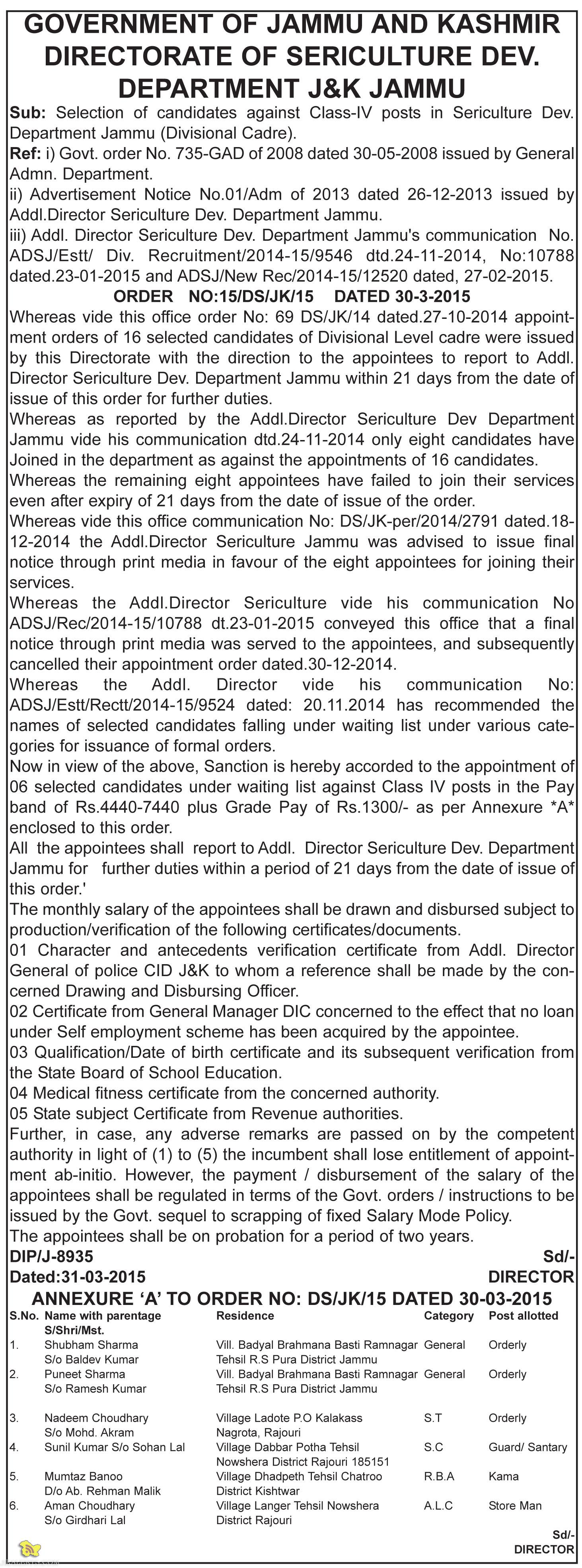 Selection of candidates against Class-IV posts in Sericulture Dev. Department Jammu