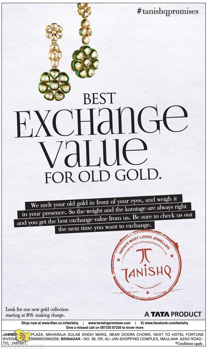 Best Exchange value FOR OLD GOLD TANISHQ OFFER