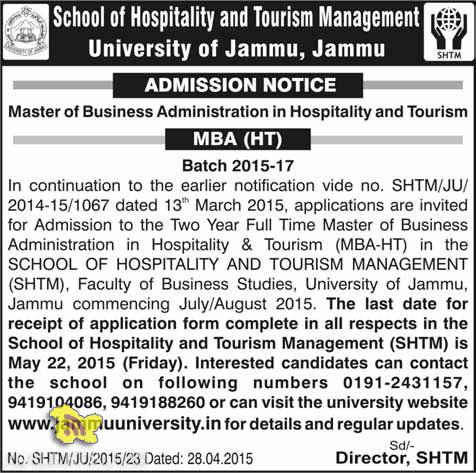 Admission open in Hospitality and Tourism Management University of Jammu