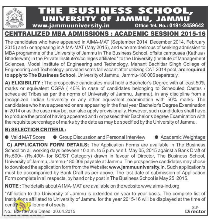 CENTRALIZED MBA ADMISSIONS : 2015-16 JAMMU UNIVERSITY