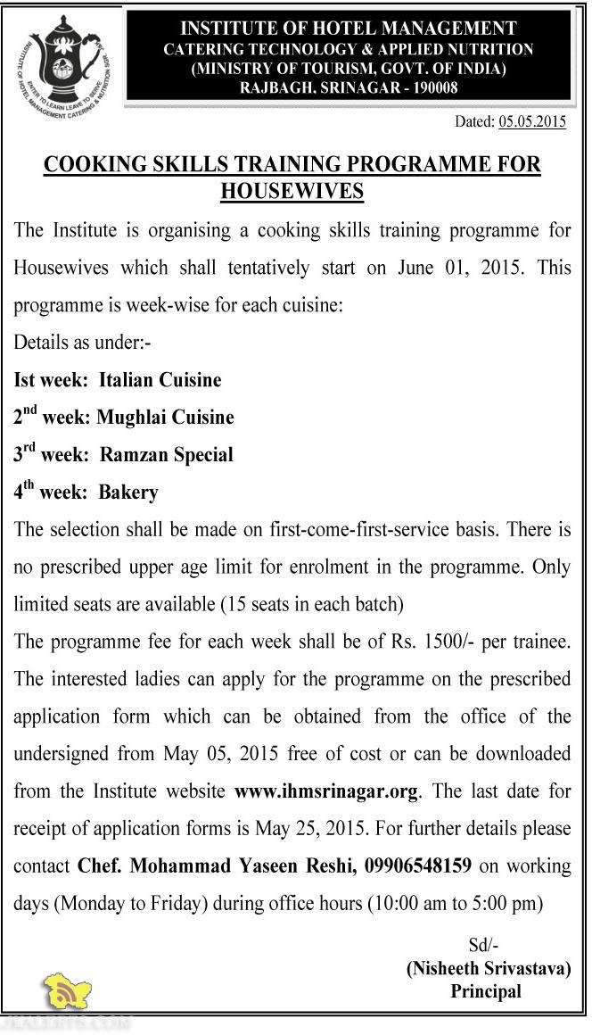 COOKING SKILLS TRAINING PROGRAMME FOR HOUSEWIVES