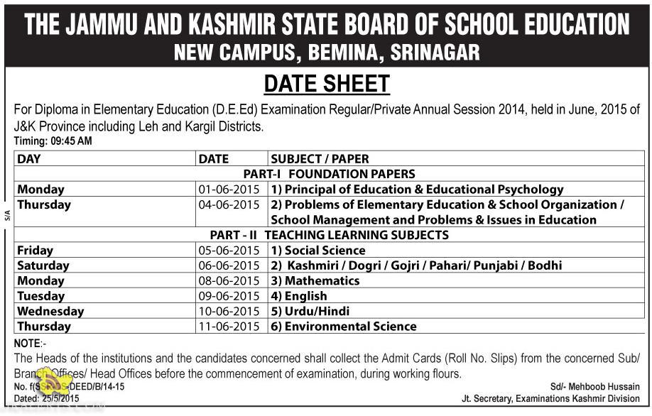 DATE SHEET For (D.E.Ed) Examination Regular/Private Annual Session 2014