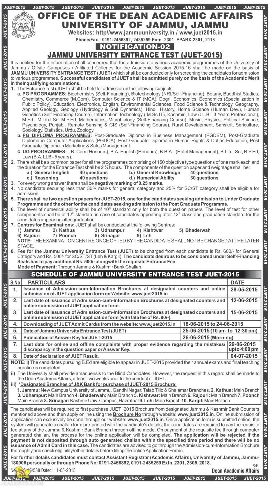 JAMMU UNIVERSITY ENTRANCE TEST (JUET-2015)