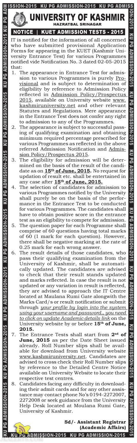 KUET ADMISSION TESTS -2015