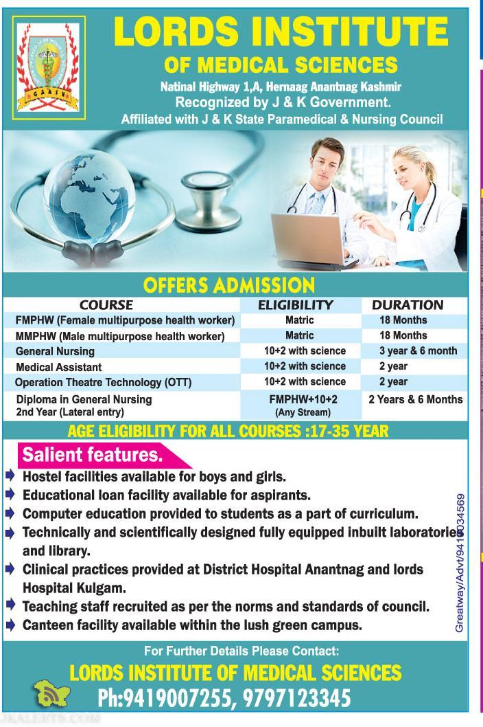 FMPHW (Female multipurpose health worker), MMPHW (Male multipurpose health worker), General Nursing, Medical Assistant, Operation Theatre Technology (OTT), Diploma in General Nursing 2nd Year (Lateral entry)