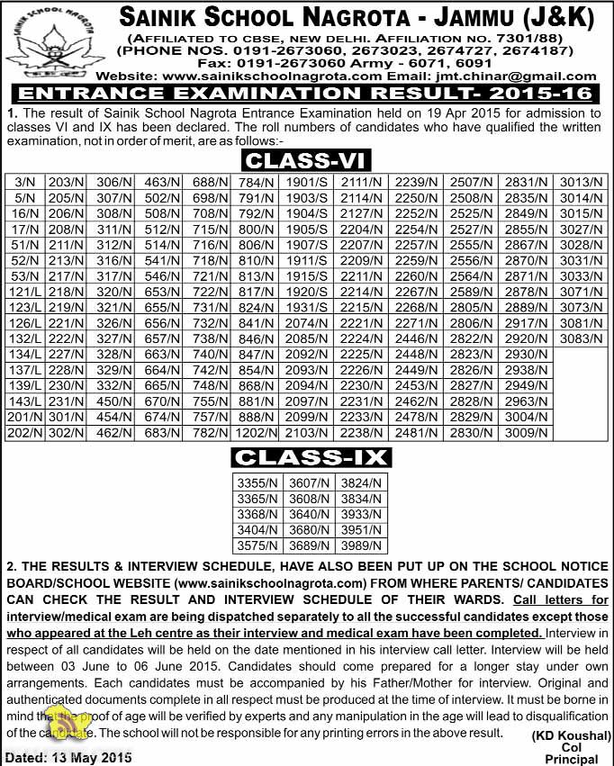 Sainik School Nagrota - Jammu (J&K) EXAMINATION RESULT- 2015-16