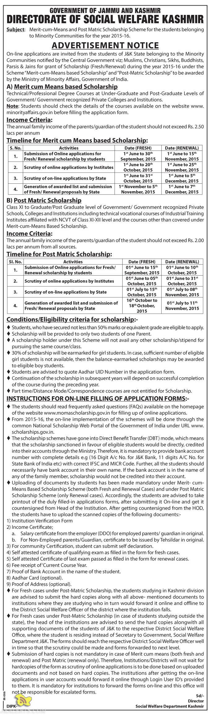 SOCIAL WELFARE Minority Merit-cum-Means and Post Matric Scholarship Scheme
