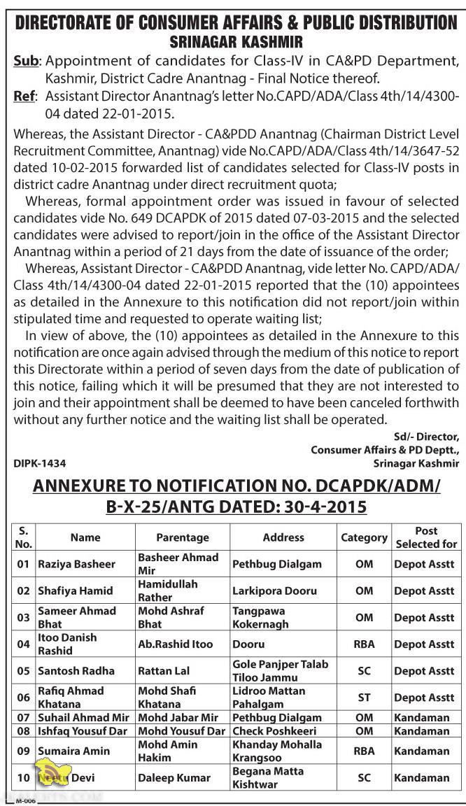 Selection list of Class-IV in CA&PD Department, Kashmir