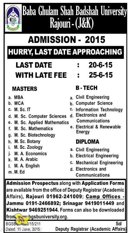 Baba Ghulam Shah Badshah university Rajouri - (J&K) ADMISSION- 2015