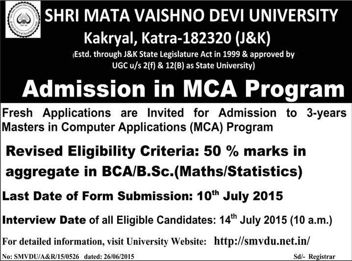 SHRI MATA VAISHNO DEVI UNIVERSITY, ADMISSION IN MCA , admissions in SMVDU ,SMVDU admission in MCA, Admission open in SMVDU 2015 Katra, Admission open 2015