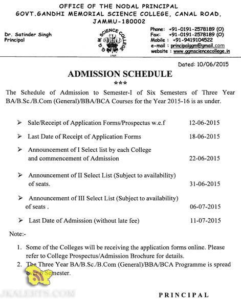 BA/B.Sc/B.Com (Gcneral)/BBA/BCA Courses Admission 2015 Jammu Division