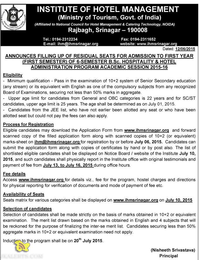 Admission open B.Sc. HOSPITALITY & HOTEL, INSTITUTE OF HOTEL MANAGEMENT