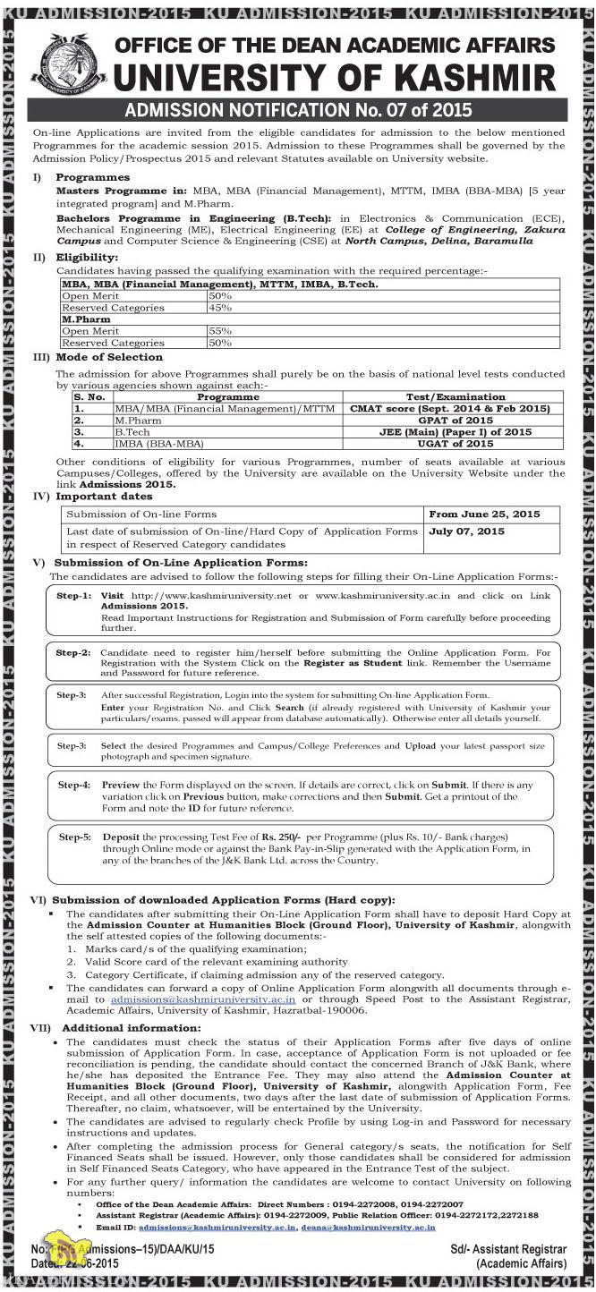 Admission open in PG Diploma, Diploma & Certificate Courses (Session 2015)