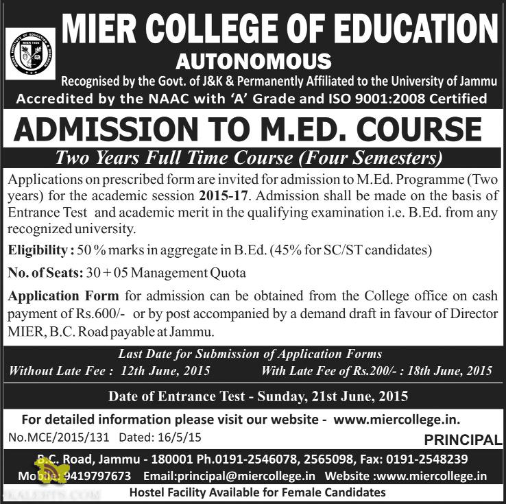 M.ED. ADMISSION IN JAMMU, MIER COLLEGE OF EDUCATION