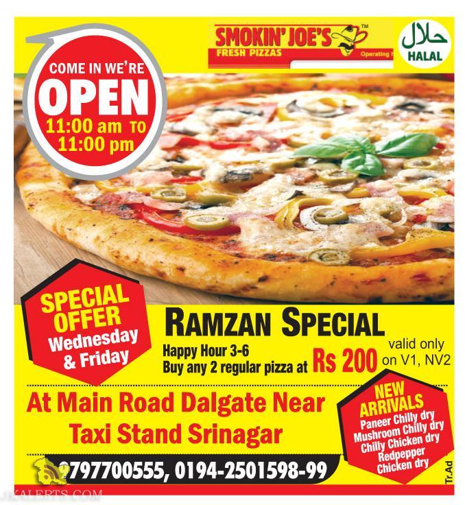 Ramzan Special offer in Smokin' Joe's, special offer on wednesday and friday