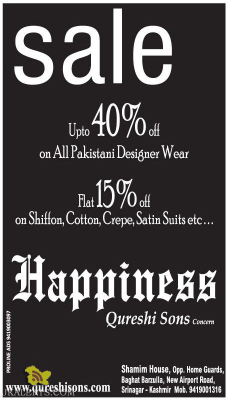 Discount on Shiffon, Cotton, Crepe, Satin Suits, Pakistani Designer Wears
