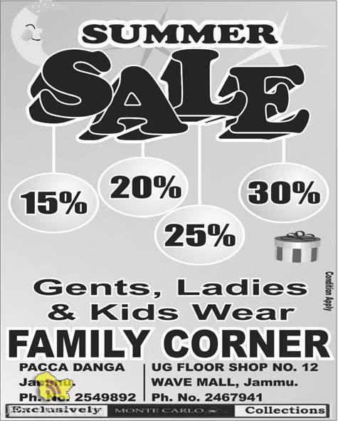 Summer Sale on Gents Ladies & Kids Wears, Family Corner