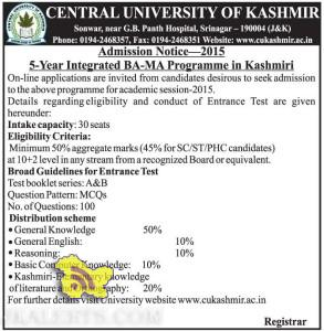 Admission open in 5-Year Integrated BA-MA Programme in Kashmiri in CUK