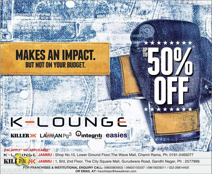KIller and K-Lounge Sale in Wave Mall, City Square mall, Latest offers, Deals Discounts on brands, Sale on Gents Ladies and Kids Wear in Jammu and Kashmir