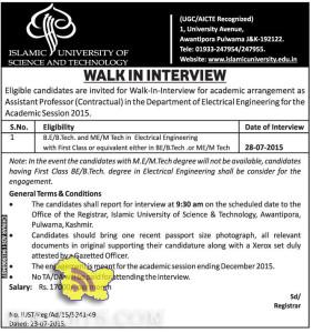 Academic arrangement as Assistant Professor in Islamic University of Science and Technology 2015, Professor Jobs in Srinagar, Teaching Jobs in srinagar
