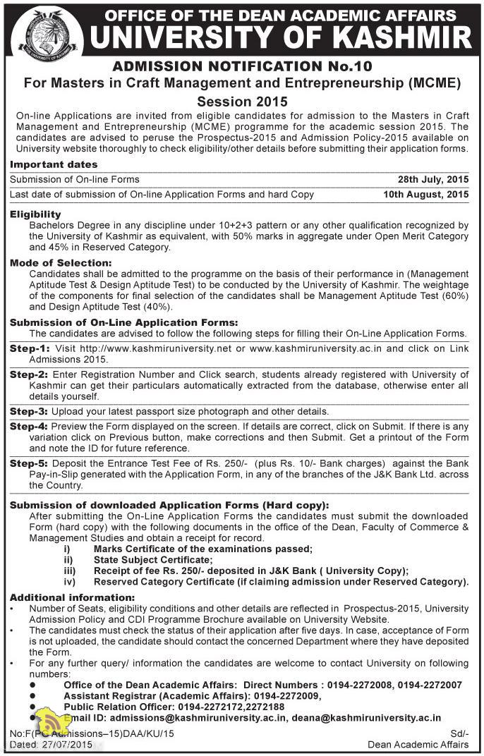 ADMISSION OPEN IN KU 2015, Craft Management and Entrepreneurship (MCME) Admission open in MCME 2015 Kashmir UNiversity, admission in kashmir university