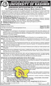 UNIVERSITY OF KASHMIR ADMISSION OPEN IN DISTANCE MODE