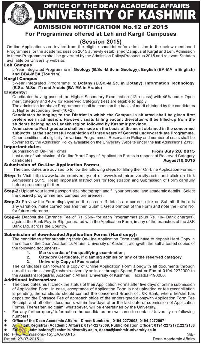 Kashmir University Admission open in Leh and Kargil Campuses, Admission open in leh Ladakh J&K.