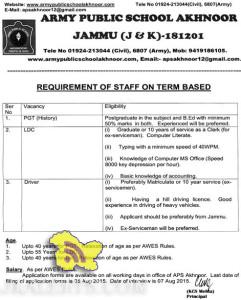 Jobs in ARMY PUBLIC SCHOOL AKHNOOR JAMMU, PGT, Driver, LDC Posts