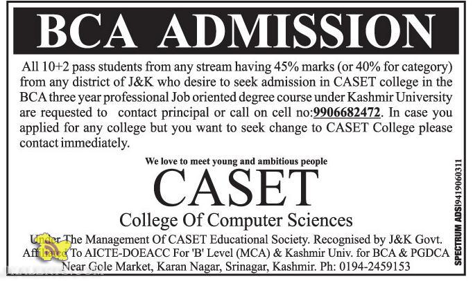 BCA Admission open in CASET College Of Computer Sciences