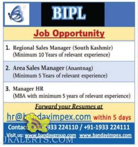 Regional Sales Manager, Area Sales Manager Jobs in BIPL, pivate JObs in Srinagar