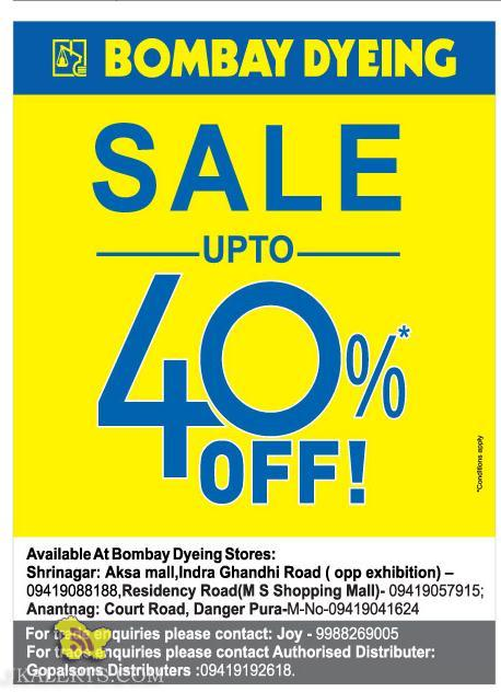 Bombay Dying sale upto 40%, Latest offer deals discount