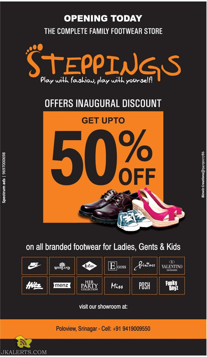 Steppings Sale in srinagar, On ladies, Gents and kids Footwears Sale in srinagar, Sale on footwears, Sale on male female and kids footwear shoes in srinagar