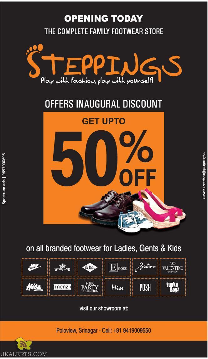 Steppings Sale in srinagar, On ladies, Gents and kids Footwears Sale in srinagar, Sale on footwears, Sale on male female and kids footwear shoes in srinagar