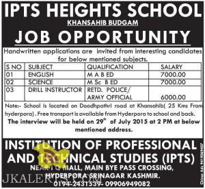Jobs in Budgam IPTS HEIGHTS SCHOOL , Jobs in Private school, Teaching JOb sin Budgam jammu and kashmir, jobs for graduates, Jobs in jammu and Kashmir