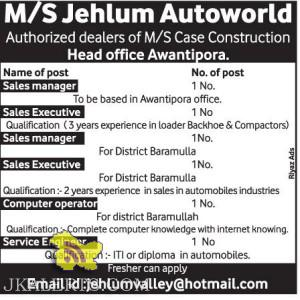 Sales, Computer operator, Service Engineer Jobs in Jehlum Autoworld
