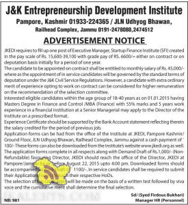 JKEDI requires to fill up one post of Executive Manager, Jobs in JKEDI JAMMU, Jobs in Jammu , Government JObs in Jammu, Manager JObs in jammu and Kashmir