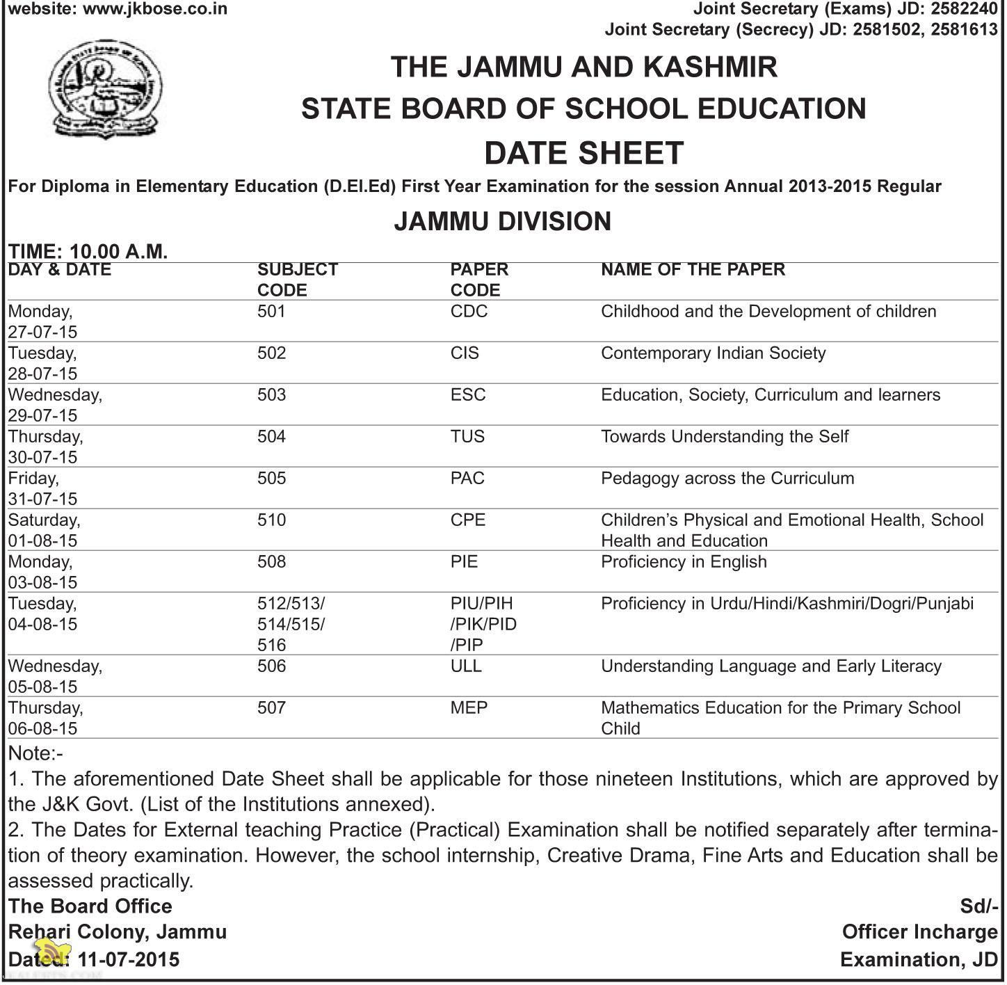 JKBOSE DATESHEET For Diploma in Elementary Education (D.EI.Ed) Jammu Division